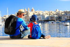 Father and son looking at city of Valetta, Malta Royalty Free Stock Image
