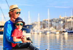 Father and son looking at city of Valetta, Malta Royalty Free Stock Photography