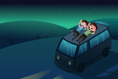 Father and son looking at the stars at night stock illustration