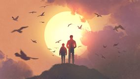 Father and son looking at the sunrise. Silhouette of father and son standing on the mountain looking at the sun rising in the sky, digital art style royalty free illustration