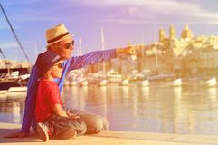 Father and son looking at Valetta, Malta Stock Image