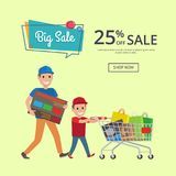 Father and Son Making Shopping with Trolley Cart. Full of presents and bags, big sale 25 percent of web banner with place for text vector illustration Royalty Free Stock Photo
