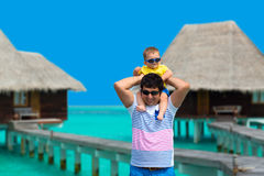 Father and son on Maldives Royalty Free Stock Photo