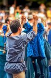 Father and son. Medieval games event, father and son celebrating victory, palio, italy Royalty Free Stock Photos