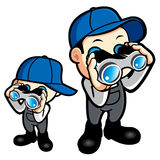 Father and son are monitored with binoculars. Work and Job Chara Stock Image