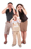 Father,  son and mother look in field-glasses from. The father,  son and mother look in field-glasses from hands Stock Photos
