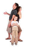 Father, son and mother are surprised, afraid and b stock photography
