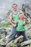 Father and son in mountains Stock Photography