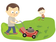 Father and son mowing and raking. A father mowing the lawn and son helping to clean Royalty Free Stock Photo