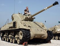 Father and son at the Museum of tanks stock photo