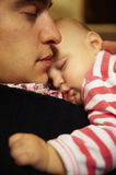 Father and Son Napping Together Stock Photo