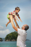 Father and son on natural background Royalty Free Stock Photo
