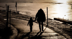 Father and son near a frozen lake Royalty Free Stock Photography