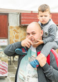 Father and son on Nestinarski games in Bulgaria Royalty Free Stock Photo