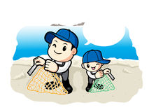 Father and Son the net size is measured. Work and Job Character Royalty Free Stock Images