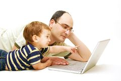 Father and son with notebook. Over white Stock Photo