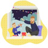 Father and son open Christmas gifts vector illustration stock illustration