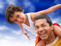 Father and son outdoors Royalty Free Stock Photography