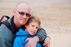 father and son outdoors Royalty Free Stock Photos