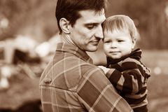 Father and son outdoors Royalty Free Stock Image