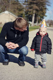 Father and Son Outside Stock Image