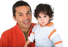 Father and son over white Royalty Free Stock Photography