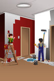 Father son painting a wall Royalty Free Stock Photos
