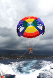 Father and son para-sail in Hawaii Stock Photography