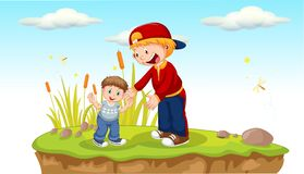 Father and son in the park. Illustration stock illustration