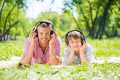 Father and son in park Royalty Free Stock Photo