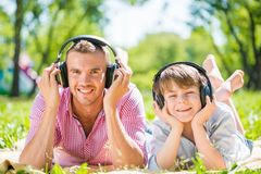 Father and son in park Royalty Free Stock Photos