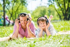 Father and son in park Stock Photos
