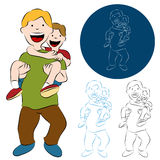 Father Son Piggy Back Ride. An image of a father son piggy back ride Stock Photos