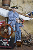 Father and son pirates stock photography