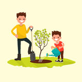 Father and son planting a tree. Vector illustration. Of a flat design Stock Image