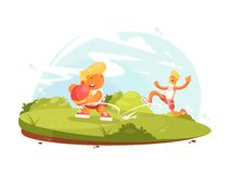 Father and son play with ball. On green lawn. Vector illustration Royalty Free Stock Photos