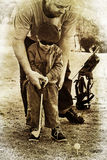 Father and son play golf Royalty Free Stock Photos