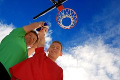 Father and son playing. Basketball Royalty Free Stock Images