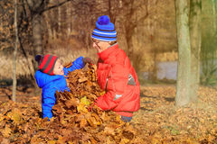 Father and son playing in autumn leaves Royalty Free Stock Image