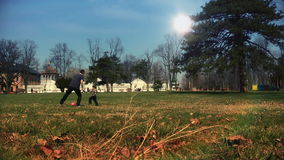 Father and son playing with a ball, time lapse stock video footage