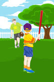 Father son playing baseball. A vector illustration of a father and his son playing baseball in the backyard Stock Photos