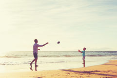 Father and Son Playing Catch Throwing Football Royalty Free Stock Images