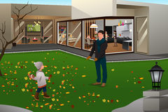 Father Son Playing Football on Thanksgiving Stock Photo