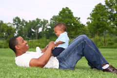 Father and Son Playing Outdoor Royalty Free Stock Image