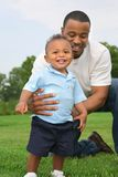 Father and Son Playing Outdoor Park in Summer Royalty Free Stock Photo