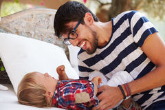 Father And Son Playing Outside Together Royalty Free Stock Images