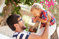 Father And Son Playing Outside Together Royalty Free Stock Photography