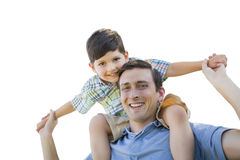 Father and Son Playing Piggyback on White. Father and Son Playing Piggyback Isolated on a White Background Stock Photo
