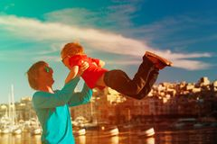 Father and son playing on the quay of Malta. Happy father and son playing on the quay of Malta, family travel Royalty Free Stock Photography