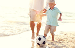 Father Son Playing Soccer Beach Summer Concept Royalty Free Stock Photos